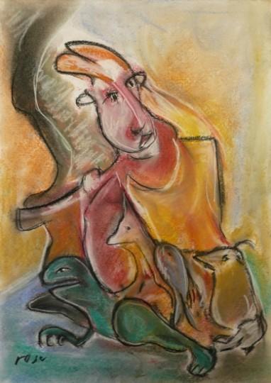 Bloemenvrouw schilderij Rose Verkerk