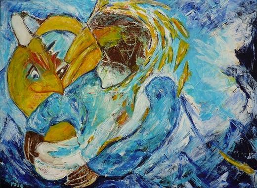 Een rare snuiter schilderij door Rose Verkerk